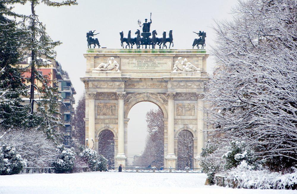 Ook in Milaan kan het in de winter sneeuwen.
